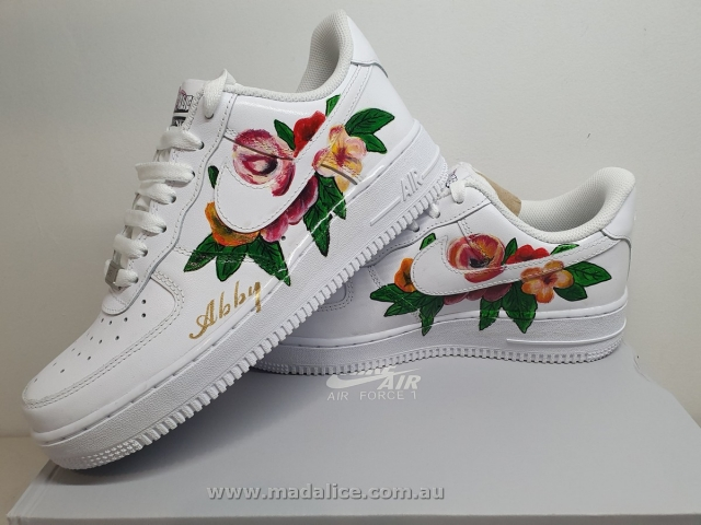 Floral hand painted nikes