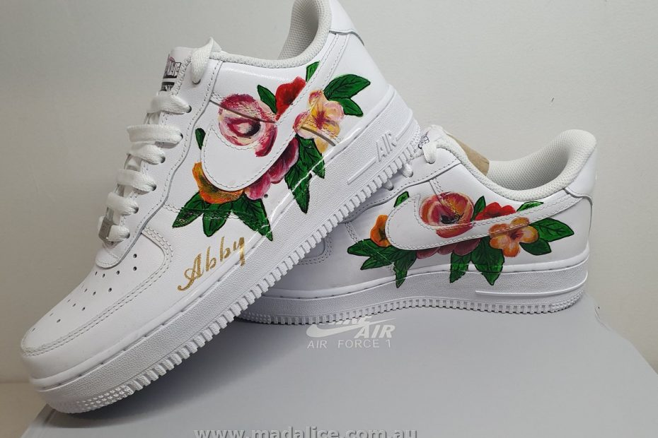custom painted floral NIke sneakers