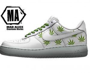 weed hand painted nike sneakers