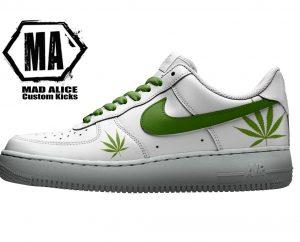 hand painted nike sneakers weed