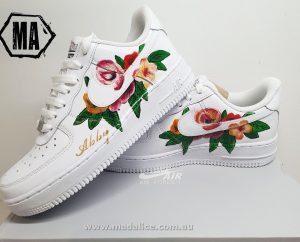 hand painted nike flower shoe