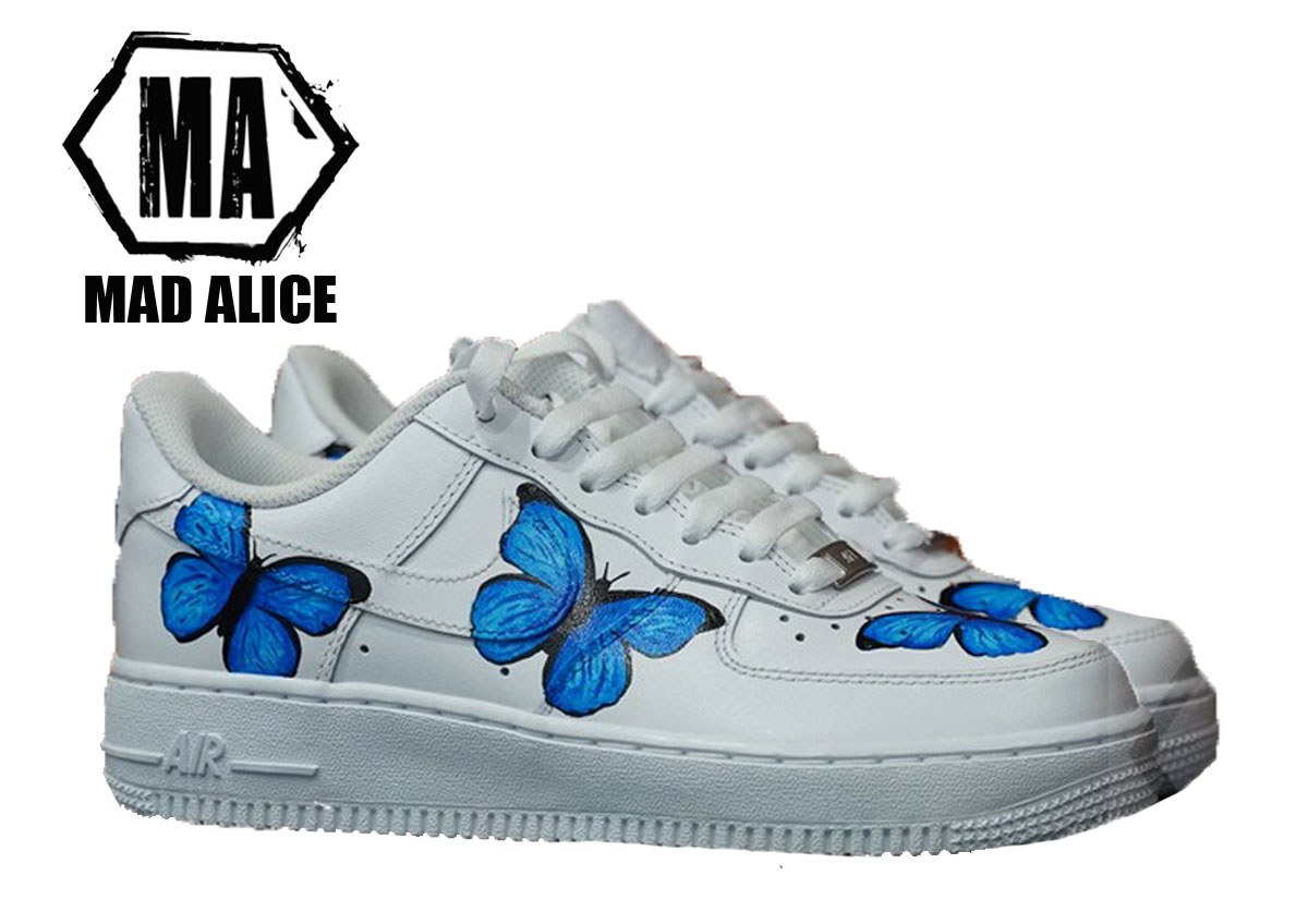 handpainted blue butterfly nike shoes