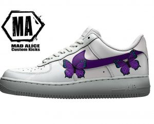 custom Nike purple butterfly