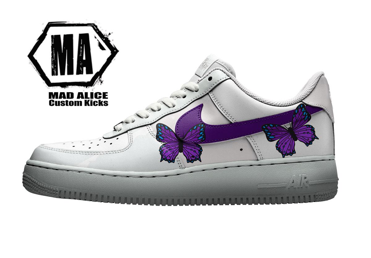 custom Nike purple butterfly