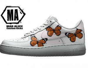 custom orange butterfly custom af1 shoes