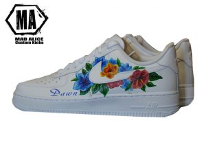 hand painted blue wild flower nike