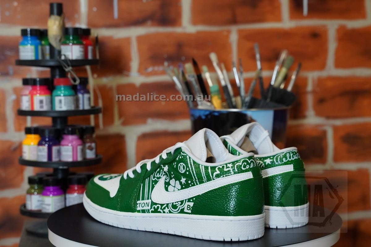 Hand painted Jordan 1 low Boston Celtics