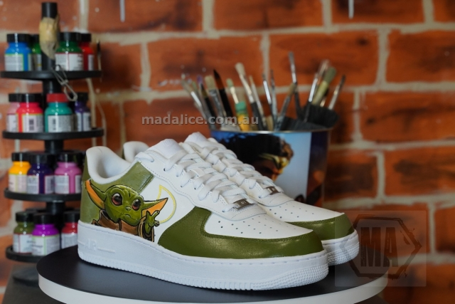 Hand painted baby yoda AF1 sneakers