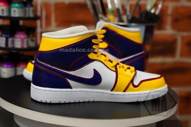 Lakers themed purple yellow Jordan 1 mids