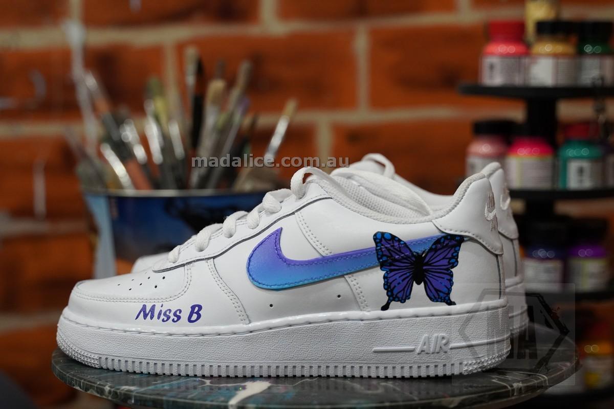 purple butterfly custom shoes