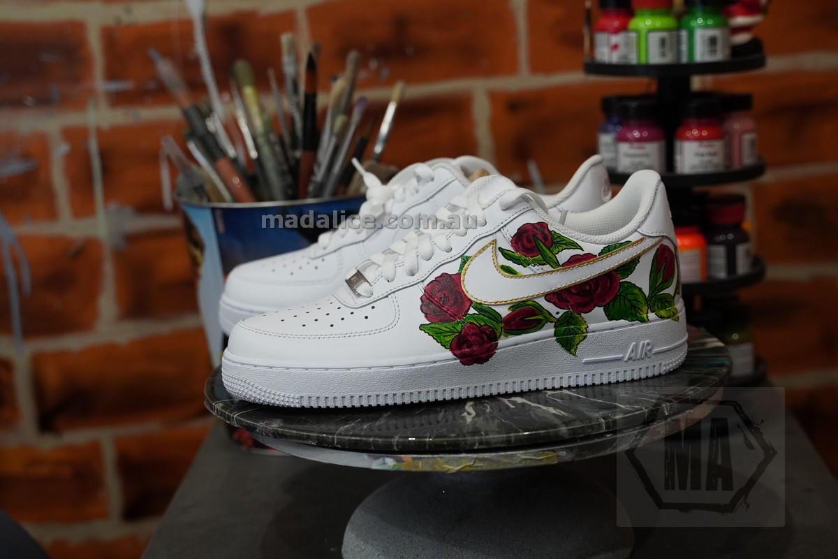 custom painted red roses kicks