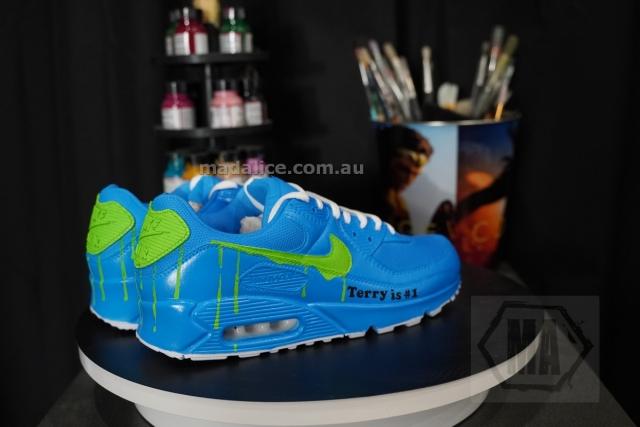 blue custom painted air max 90 shoes
