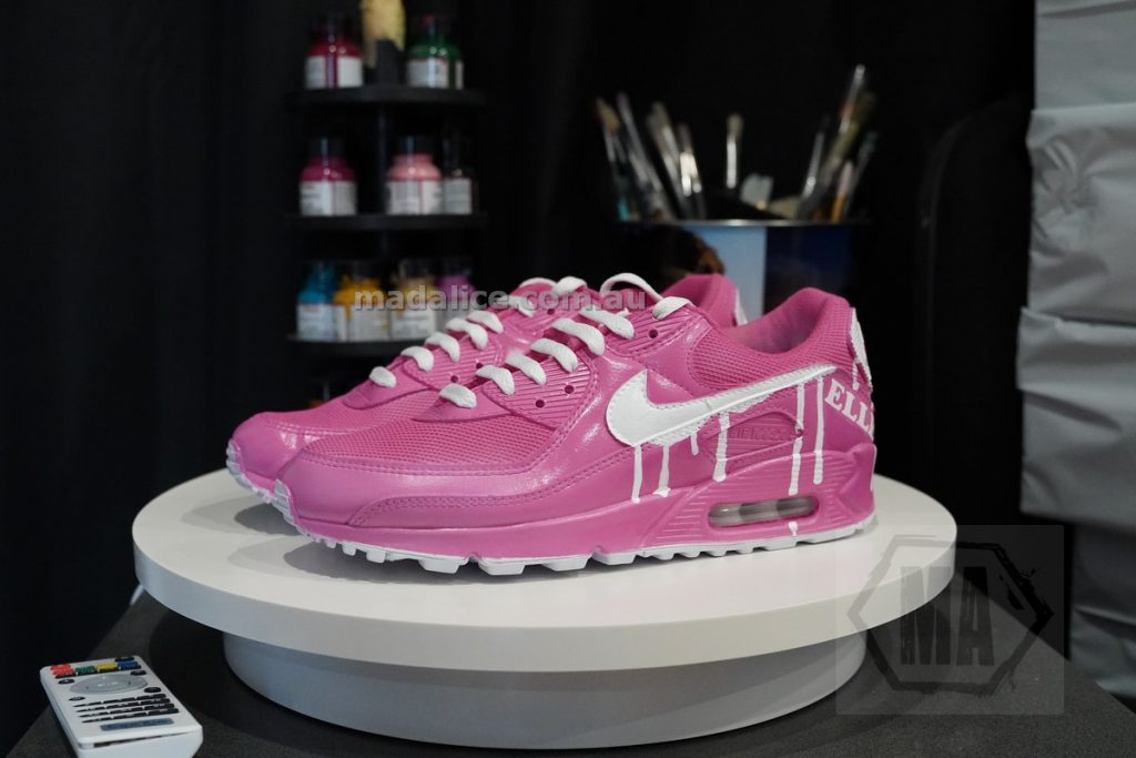 pink and white custom air max 90