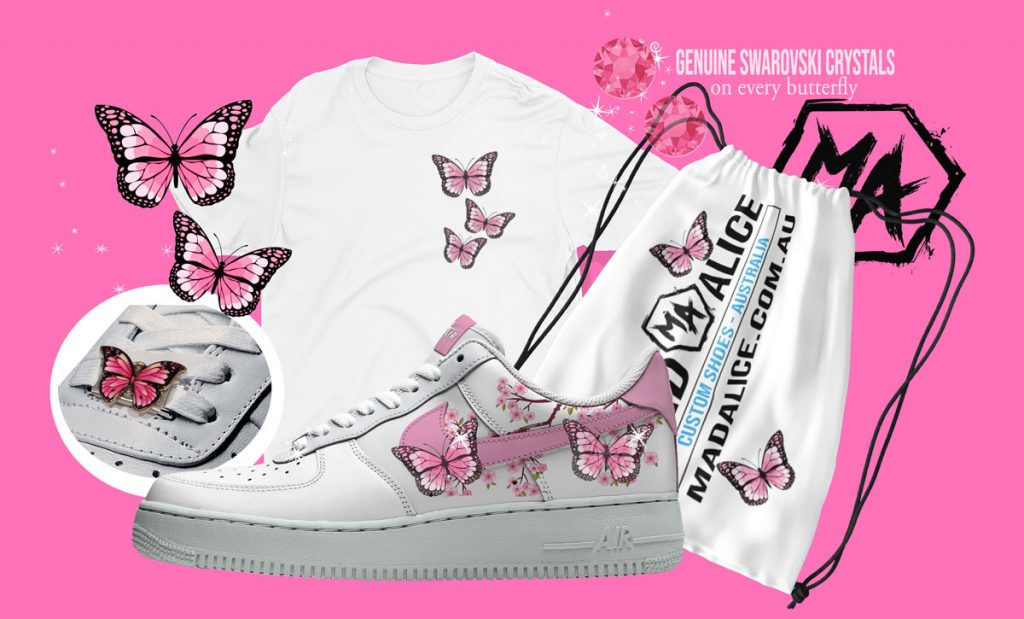 custom pink butterfly shoes and apparel