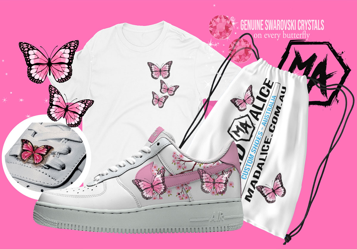 limited edition pink butterfly custom shoes packl