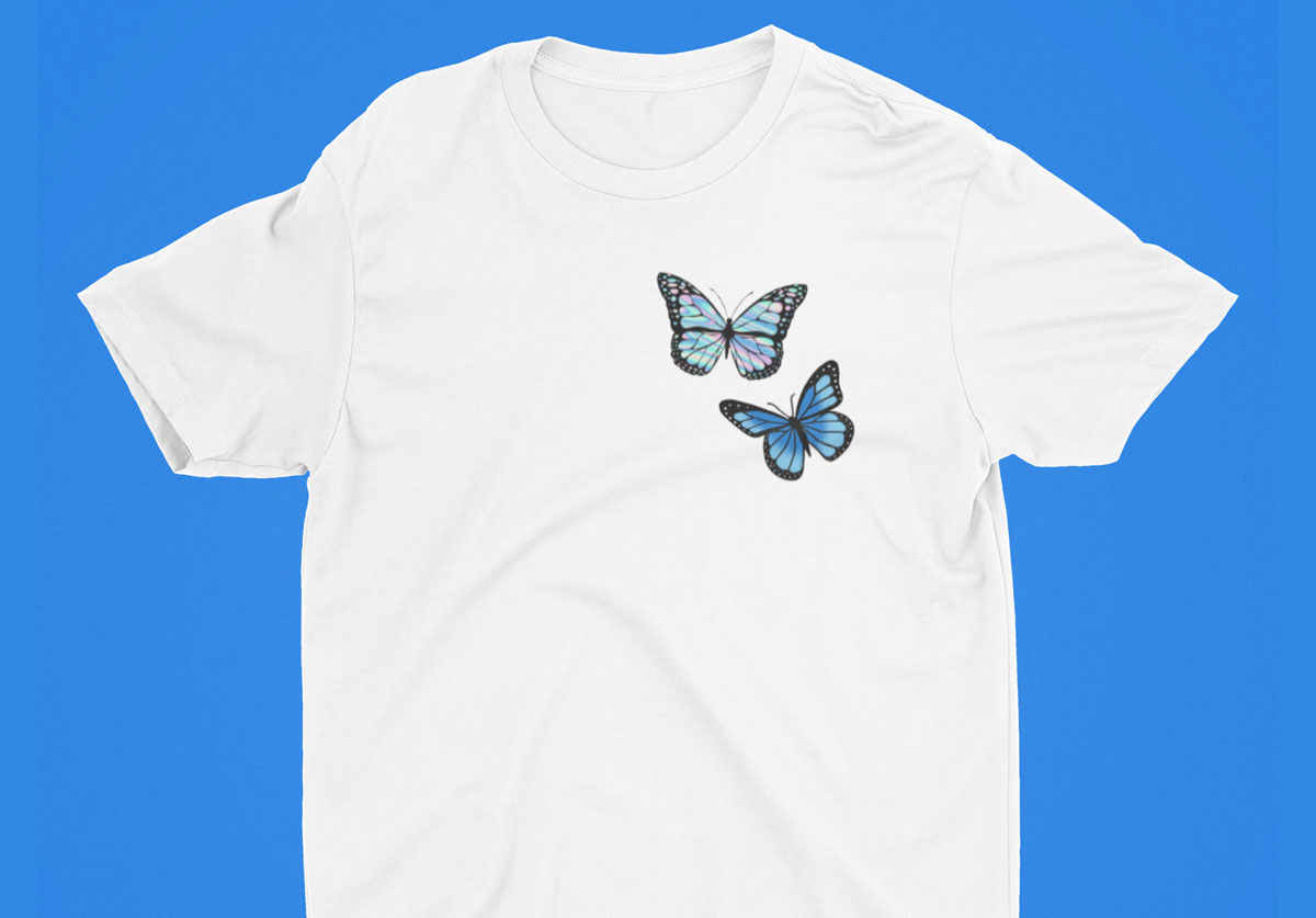 custom blue butterfly tshirt