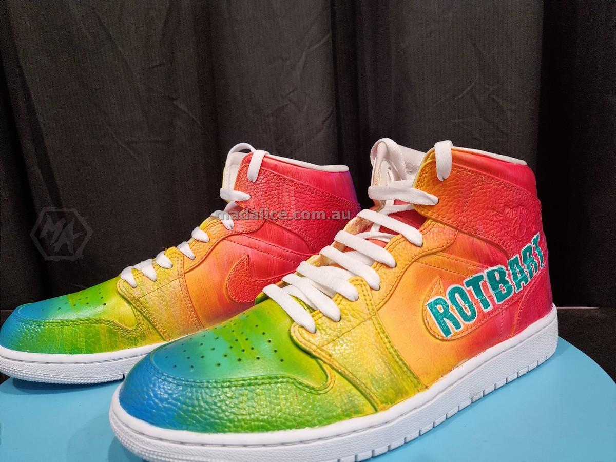 custom rainbow jordan 1 shoes