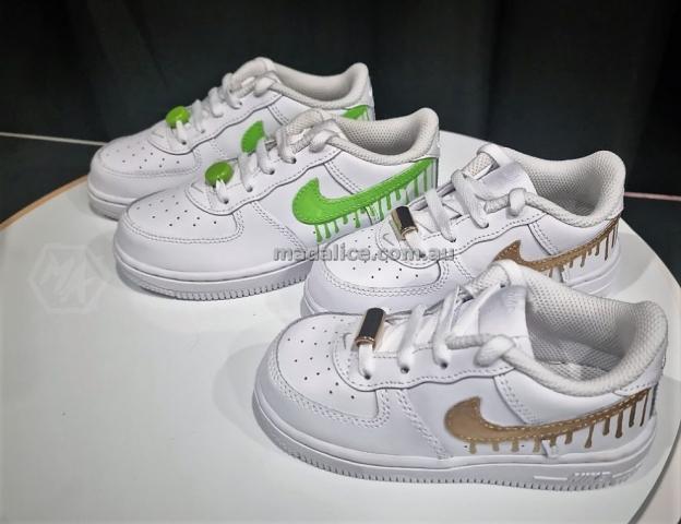 custom painted kids drippy swoosh shoes