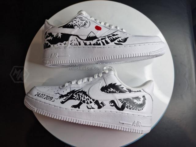 custom painted dragon af1 shoes