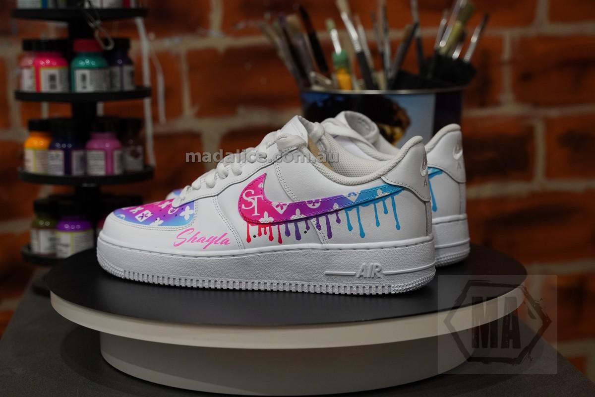 rainbow fade custom painted shoes