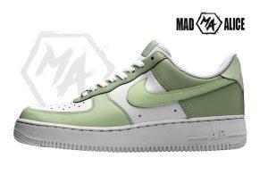 green custom painted nike shoes