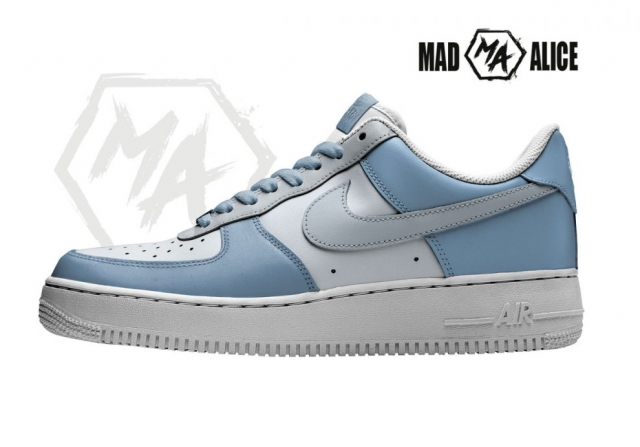 blue painted af1 shoes