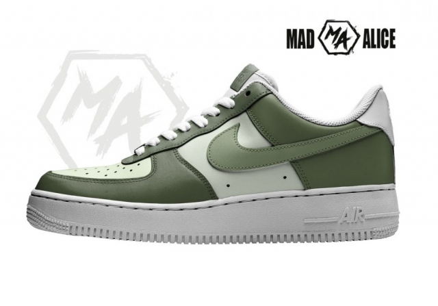 olive colour painted af1 sneakers