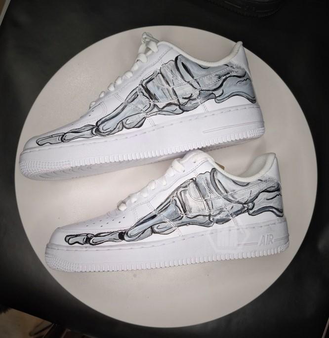Foot Bone custom painted Nike Af1 sneakers
