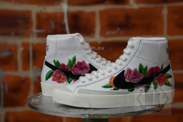 custom painted nike blazer high flowers