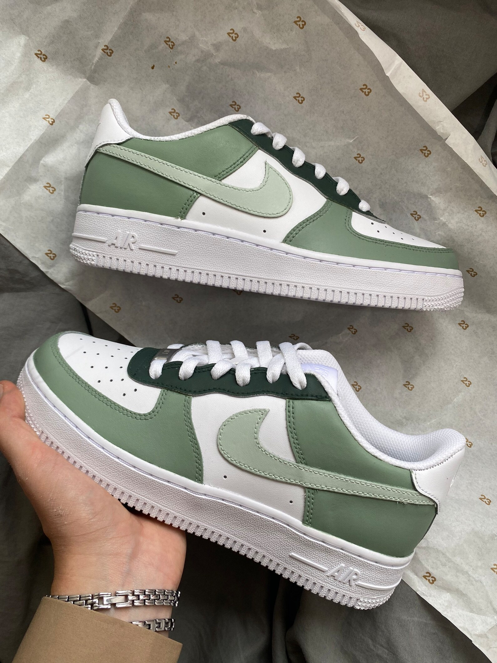 custom kids sage green shoes