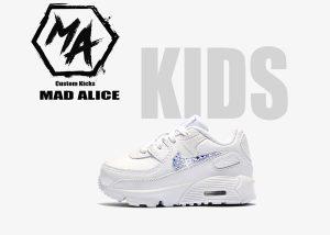 kids swarovski crystal nike air max 90 custom shoes