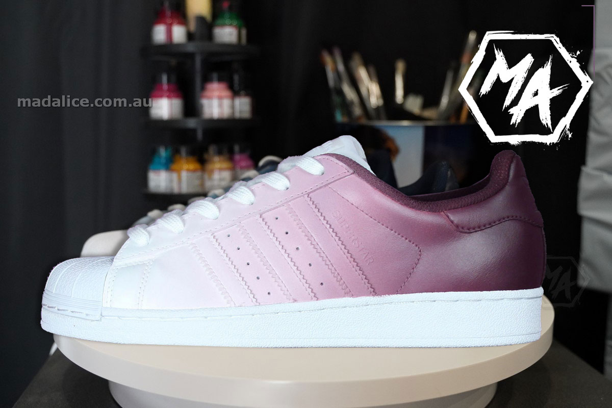 pink custom adidas supertars
